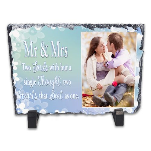 Personalised Mr & Mrs Two Souls But With A Single Thought Rock Slate Photo Frame - Rectangle